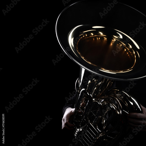 Photo sur Aluminium Musique Tuba brass instrument. Wind music instrument