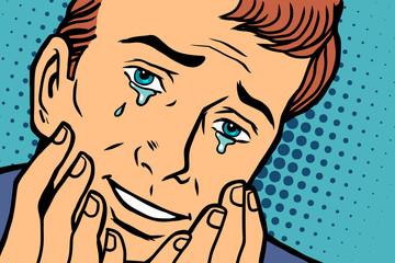 Tears of joy, funny face man in love