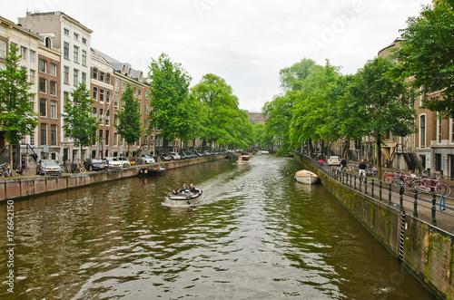 Valokuva  Boats on amsterdam canal