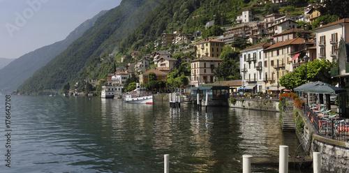 Italy, Lake Como; Argegno, panning shot. Wallpaper Mural
