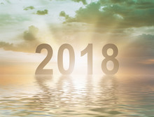 New Year 2018 Digits Text Suns...