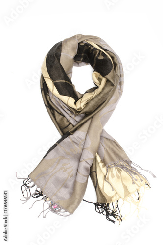 Fototapeta women's scarf with pattern isolated on white