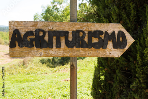 Handmade wooden agriturismo sign Canvas Print