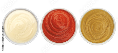 Fotografía  Ketchup, mayonnaise and mustard isolated on white background top view