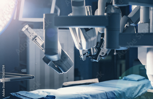 Fotografía  Surgical room in hospital with robotic technology equipment, machine arm surgeon in futuristic operation room