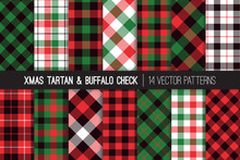 Christmas Tartan And Buffalo Check Plaid Seamless Vector Patterns. Hipster Lumberjack Flannel Shirt Fabric Textures. Green, Red, Black And White Xmas Backgrounds. Pattern Tile Swatches Included.