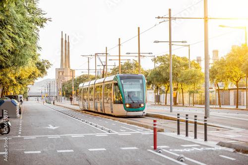 Street view with modern tram in Badalona city near Barcelona