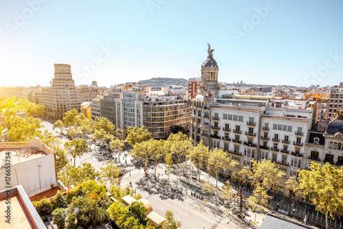 Top view on Gracia avenue with luxurious buildings in Barcelona city Wallpaper Mural