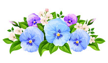 Vector Blue And Purple Pansy F...