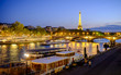 View of the Seine and the Tour Eiffel at night, Paris, France