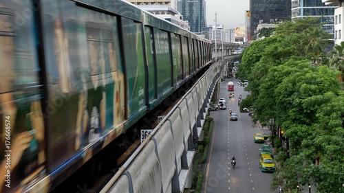 Bangkok, Thailand - June 8, 2017: The Bangkok Mass Transit System, BTS or Skytrain, Silom line, driving through the city center coming from to Chong Nonsi Station Canvas Print
