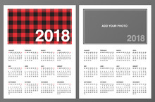 """Two 2018 Calendar Templates: Lumberjack Patterned Frame And """"Add Your Own Photo"""". Week Starts On Sunday. Red Black Buffalo Check Plaid Pattern Swatch Is Included. Printable Letter Size Pages 8.5""""x11"""""""