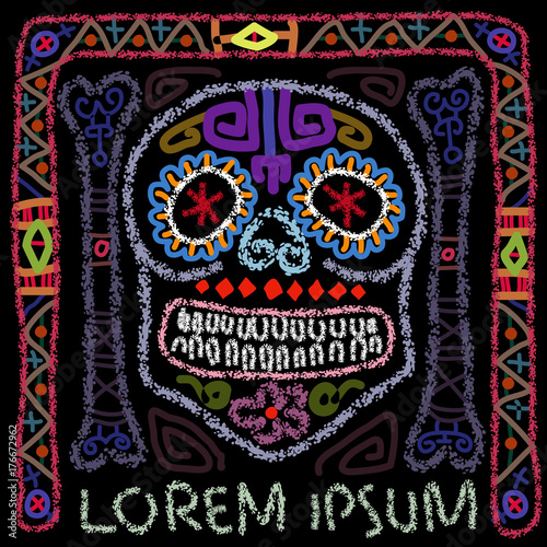 Day Of The Dead Colorful Sugar Skull Contemporary Folk Art Style Vector Illustration With Discretionary