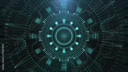 Obraz na płótnie Hi-tech wyświetlacz interfejs użytkownika głowy do wyświetlania ekranu komputera pulpitu w tle