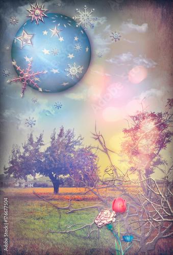 Papiers peints Imagination Il regno segreto,paesaggio fiabesco e incantato con fiori fantastici