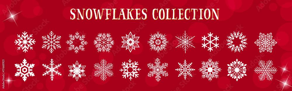 Fototapeta White Snowflakes Winter & Merry Christmas Vector Set