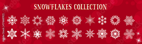 Cuadros en Lienzo  White Snowflakes Winter & Merry Christmas Vector Set