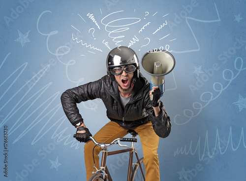 Fototapeta Szalony jeździec na rowerze