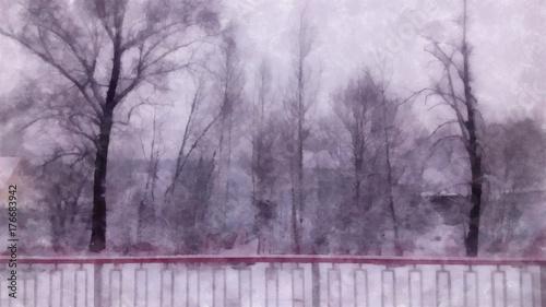 Printed kitchen splashbacks Purple Winter landscape in gloomy day. birch branches in the background of snow