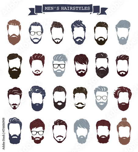 Εκτύπωση καμβά Set of men hairstyles with beards and mustache