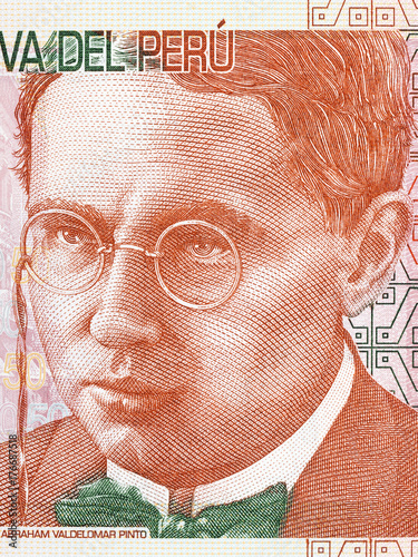 Foto  Abraham Valdelomar portrait from Peruvian money