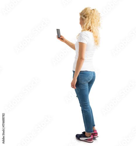 Fototapeta Woman taking picture with phone obraz