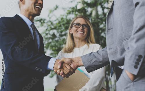 Photo  Men Women Business Agreement Hands Shake