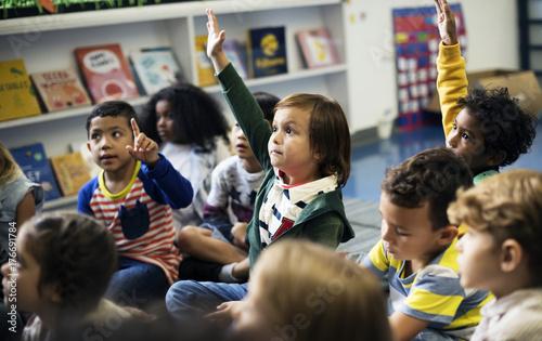 Obraz Happy kids at elementary school - fototapety do salonu