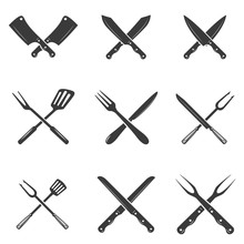Set Of Restaurant Knives Icons...