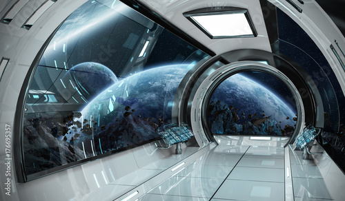 Garden Poster UFO Spaceship interior with view on planets 3D rendering elements of this image furnished by NASA