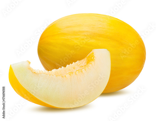 Fotografie, Obraz Fresh melon isolated on white background with clipping path