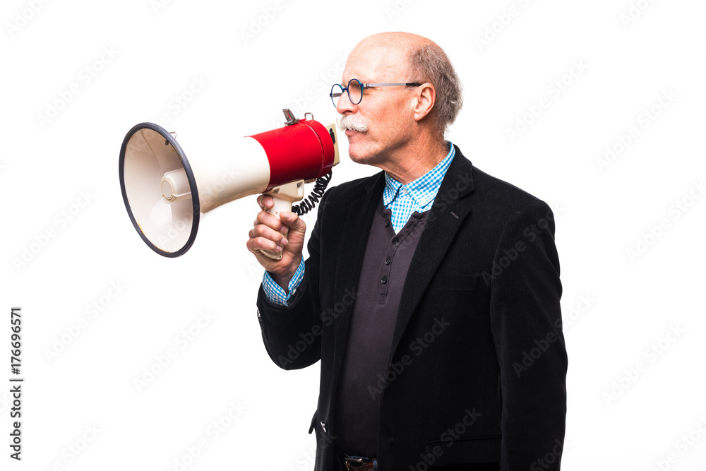 Fototapeta Handsome old man making announcement in mega phone on white background