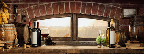 Rustic wine cellar in the countryside