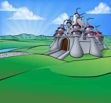Castle Cartoon Scene Background