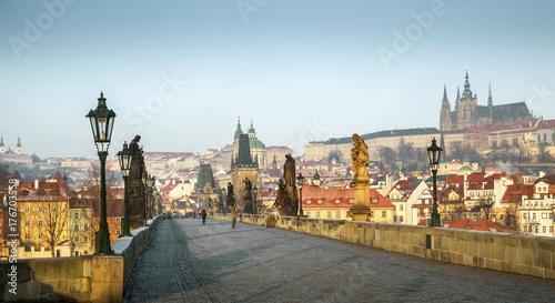 Acrylic Prints Prague Panoramic view of Charles Bridge in Prague, Czech Republic