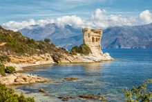 Genoese Tower At Mortella Near St Florent In Corsica