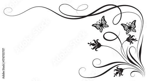 decorative floral corner ornament with flowers and butterfly buy this stock vector and explore similar vectors at adobe stock adobe stock decorative floral corner ornament with