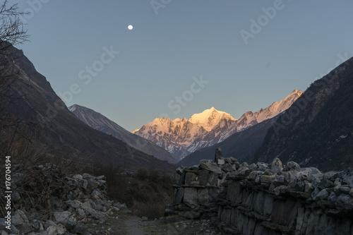 Poster de jardin Vache Langtang valley moonrise over mountain