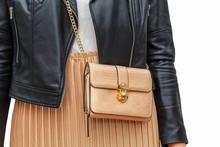 Pleated Golden Skirt, Shoulder Bag, Black Leather Jacket On A Slender Female Figure