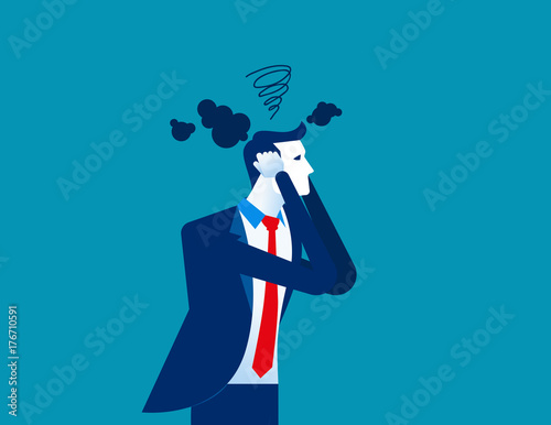 Fototapeta Businessman head have smoke. Concept business vector illustration. obraz