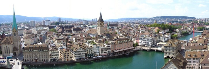 Fototapeta na wymiar Aerial panorama of Zurich, Switzerland
