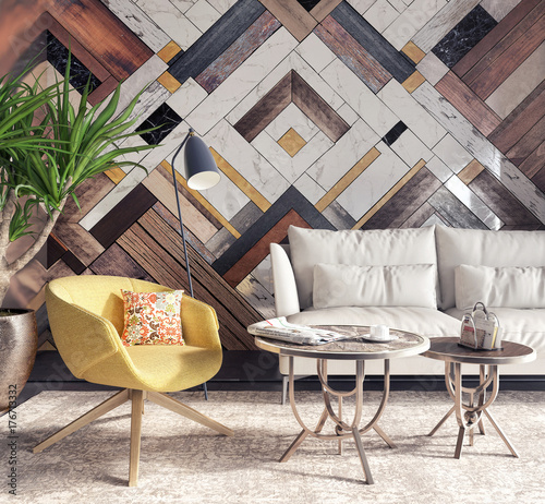 Modern interior with yellow armchair in front of a accent wall 3D Rendering Wallpaper Mural