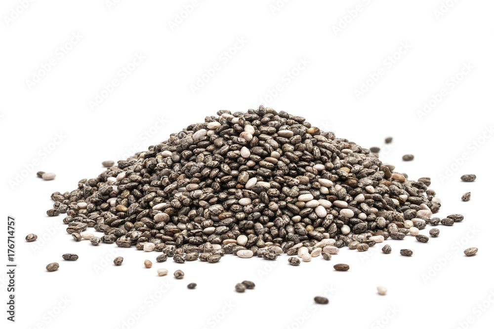 Fototapety, obrazy: Pile of healthy chia seeds isolated on a white background