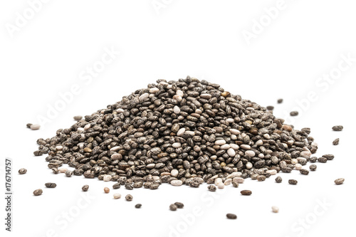 Poster Graine, aromate Pile of healthy chia seeds isolated on a white background