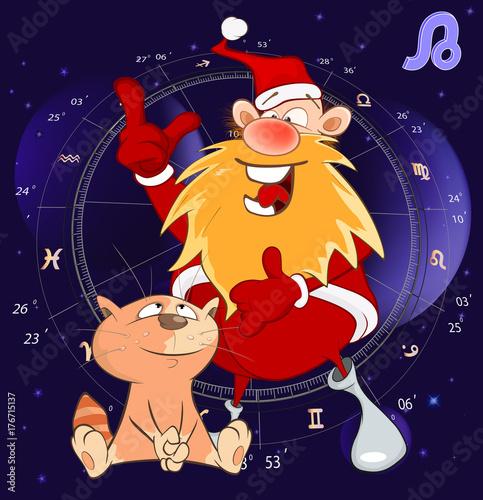 Deurstickers Babykamer Illustration of a Zodiac Signs Leo. Cartoon Character