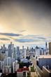 日没サンセット、夕暮れの都会、ビル群、都市、シティー、太陽がオレンジ
