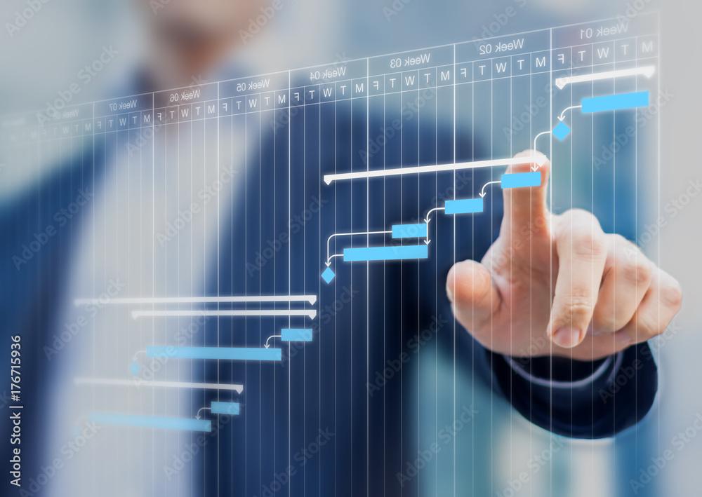 Fototapeta Project manager updating Gantt chart planning on a virtual screen