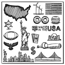 Exercise Book Collection Of Icons Of The United States, America Sketch Set, Usa Collection Sign. Vector Illustration