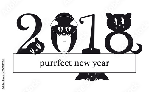 2018 new year card with funny cats as a digits original funny illustration