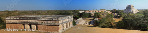 View on the Ball court and Pyramid of the Magician, Uxmal, Mexico Canvas Print